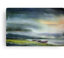 Monsoon Village River & Fishing Boats Canvas Print