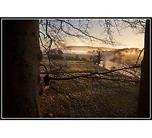 Misty morning views towards Pendle Hill Photographic Print
