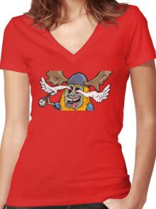 pancake plays the banjo Women's Fitted V-Neck T-Shirt