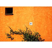18 on an orange wall Photographic Print