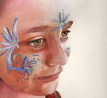 Face Painting, watercolor on paper by Sandrine Pelissier