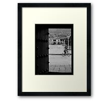 Patio with Vista de la Plaza Framed Print