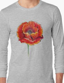 Poppy Flower Watercolor Long Sleeve T-Shirt