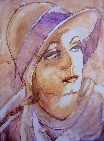Greta, watercolor on yupo paper by Sandrine Pelissier
