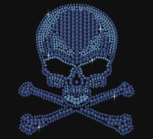 Blue Rhinetsone Skull & Crossbones by littlegems