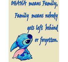 Lilo & Stitch - Ohana Family Quote (2) Photographic Print