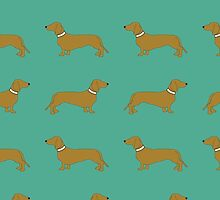 Sausage Dogs - turquoise by polkadotjelly