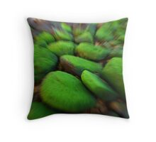 Blurred green mossy boulders Throw Pillow