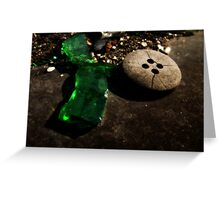 Green Glass Button Greeting Card