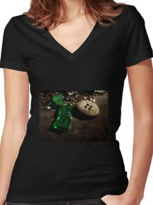Green Glass Button Women's Fitted V-Neck T-Shirt