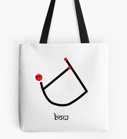 Stick figure of bow yoga pose with Sanskrit text. Tote Bag