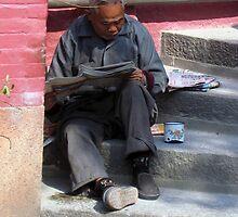 Pink Wall & Elderly Gentleman - Macau by mklau