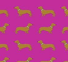 Sausage Dogs - hot pink by polkadotjelly