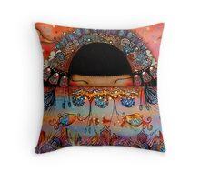 The Peacock Empress  Throw Pillow