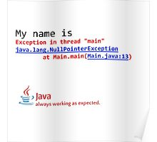 Java, always working as expected. Poster