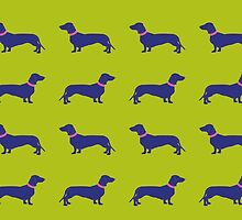 Sausage Dogs - blue & green  by polkadotjelly