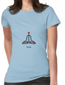 Stick figure of lotus yoga pose with Sanskrit Womens Fitted T-Shirt