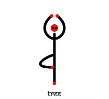 Stick figure of tree yoga pose with Sanskrit text. by Mindful-Designs