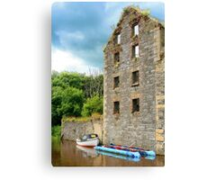 River & boat in Bagenalstown, Ireland Canvas Print