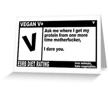 VEGAN, MOTHERFUCKER. Greeting Card