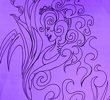 Purple Cashmere Abstract Cameo by RealPainter