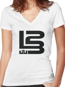 LEBRON JAMES KING NUMBER 23 Women's Fitted V-Neck T-Shirt
