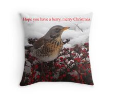 Berry, Merry Christmas Throw Pillow