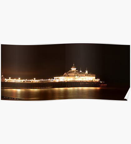 Eastbourne pier at night - panoramic Poster