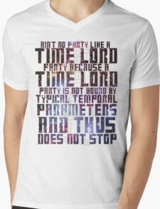 Aint No Party Like a Time Lord Party II Mens V-Neck T-Shirt