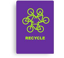 Recycle Message And Bicycle Emblem Canvas Print