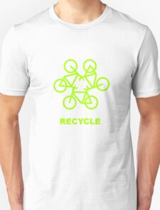 Recycle Message And Bicycle Emblem Unisex T-Shirt