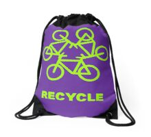 Recycle Message And Bicycle Emblem Drawstring Bag