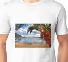 Nidri Harbour Framed By Palm Tree  Unisex T-Shirt