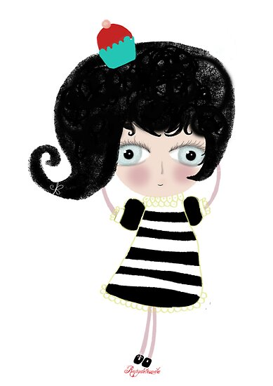 Lovely love Print Illustration Doll surprise Black and white dress black shoes and hair strawberry muffin flavored illustration  by Ruth Fitta-Schulz
