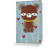 Vintage old teddy bear hearts in love Greeting Card