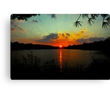 Orange Sun - Aqua Sky Canvas Print