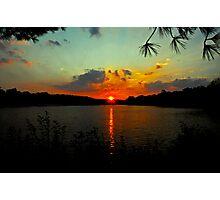 Orange Sun - Aqua Sky Photographic Print