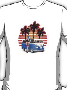VW Split Window Bus w Girl & Palmes T-Shirt