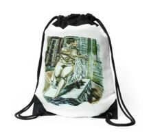 Model amongst Props Drawstring Bag