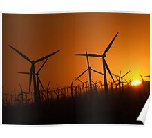 Sunset at the wind farm Poster