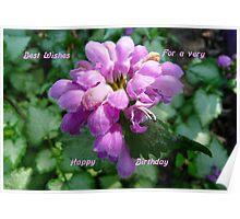 Happy Birthday ..Card, purple flower Poster