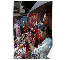 Selling decorative braids in Kathmandu, Nepal Poster