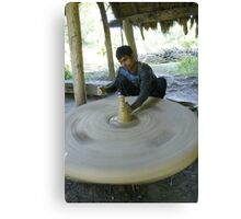 Nepalese potter in Bardia Canvas Print