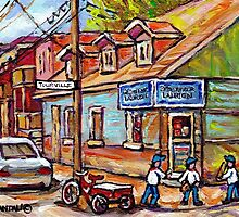 MONTREAL PAINTINGS FOR SALE DEPANNEURS OF MONTREAL BASEBALL SCENE by Carole  Spandau