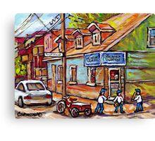 MONTREAL PAINTINGS FOR SALE DEPANNEURS OF MONTREAL BASEBALL SCENE Canvas Print