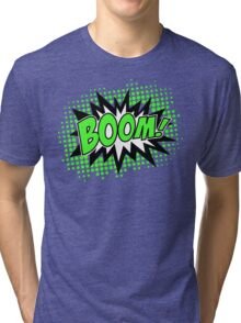 COMIC BOOM, Speech Bubble, Comic Book Explosion, Cartoon Tri-blend T-Shirt
