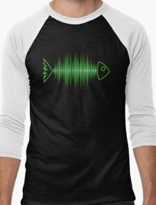 Music Fish Pulse Rate Frequency Dance House Techno Wave Men's Baseball ¾ T-Shirt