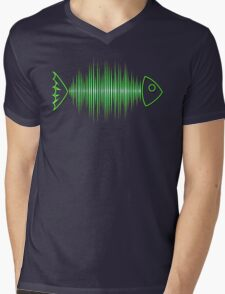 Music Fish Pulse Rate Frequency Dance House Techno Wave Mens V-Neck T-Shirt