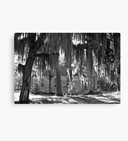 Old Church House In Black And White Canvas Print