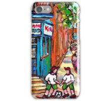 PAINTINGS OF KIDS PLAYING SOCCER NEAR MONTREAL DEPANNEUR BERNARD AND JEANNE MANCE iPhone Case/Skin